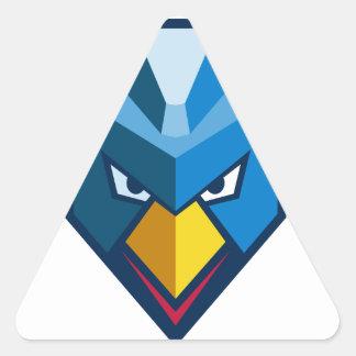 Verärgerte Cyberpunk-Huhn-Ikone Dreieckiger Aufkleber