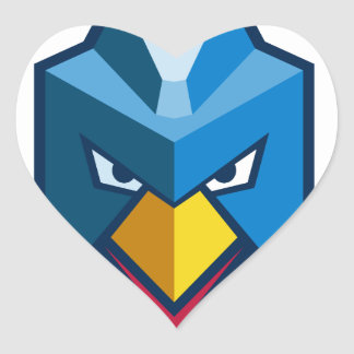 Verärgerte Cyberpunk-Huhn-Ikone Herz-Aufkleber