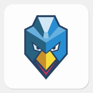 Verärgerte Cyberpunk-Huhn-Ikone Quadratischer Aufkleber