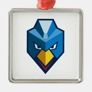 Verärgerte Cyberpunk-Huhn-Ikone Silbernes Ornament
