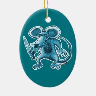 verärgerte Ratte mit Messerblaukontur Ovales Keramik Ornament