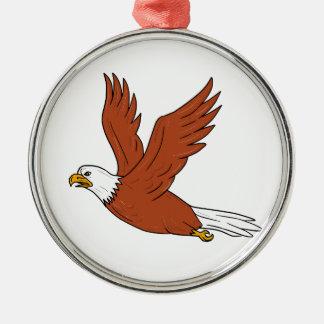 Verärgerter Adler-Fliegen-Cartoon Rundes Silberfarbenes Ornament