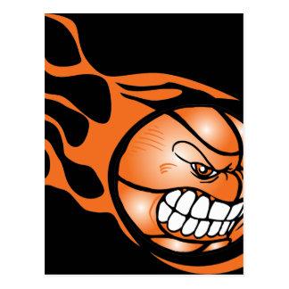 Verärgerter brennender Basketball Postkarte