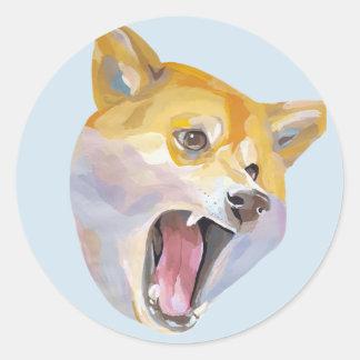 Verärgerter Doge Shibe Runder Aufkleber