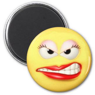 Verärgerter Mädchen-Magnet Runder Magnet 5,1 Cm