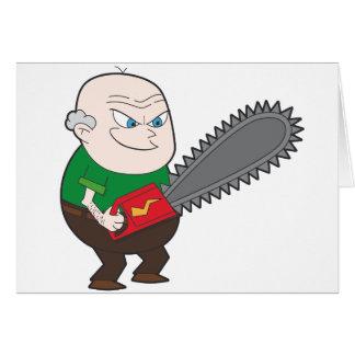 Verärgerter Mann mit Kettensägen-Cartoon Karte