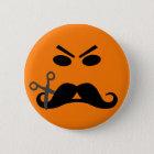 Verärgerter Schnurrbart-smileyknopf Runder Button 5,7 Cm