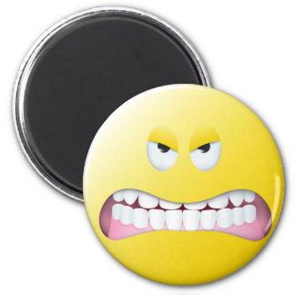 Verärgerter Smiley Runder Magnet 5,7 Cm