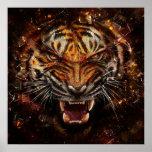 Verärgerter Tiger, der GlasYelow bricht Poster