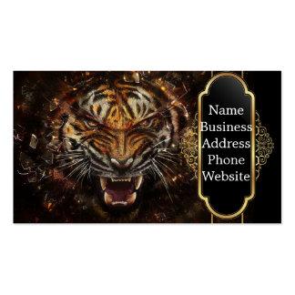 Verärgerter Tiger, der GlasYelow bricht Visitenkarten