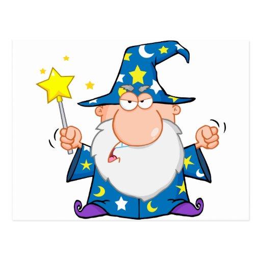 Verärgerter Zauberer, der mit magischem Stab welle Postkarten