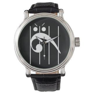 Verärgertes Bassschlüssel-Uhr SCHWARZES, friggin Armbanduhr