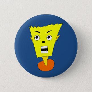 Verärgertes Cartoon-Gesicht Runder Button 5,7 Cm