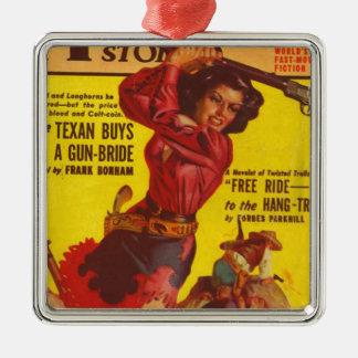 Verärgertes Cowgirl Silbernes Ornament