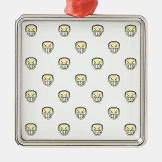 Verärgertes Emoji Grafik-Muster Silbernes Ornament
