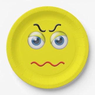 Verärgertes Emoji Pappteller
