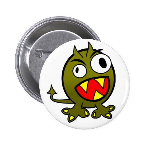 Verärgertes grünes Monster Anstecknadelbutton