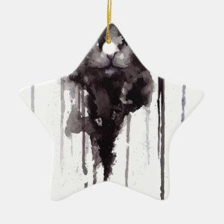 Verärgertes Katze T-Shirt Keramik Stern-Ornament
