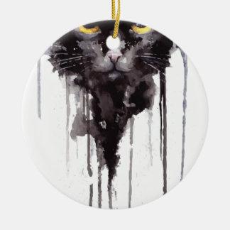 Verärgertes Katze T-Shirt Rundes Keramik Ornament