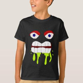Verärgertes wütendes Gesicht TBA scherzt dunklen T T-Shirt