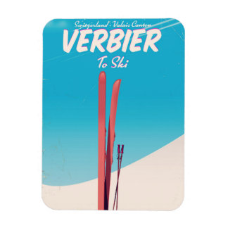 Verbier, Ski-Reiseplakat der Schweiz Vintages Magnet