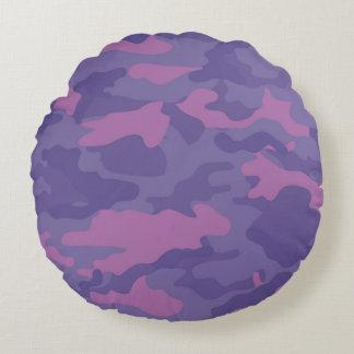Verblaßte lila Camouflage Rundes Kissen