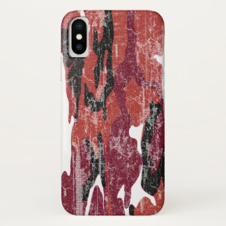 Verblaßte rote Camouflage iPhone X Hülle