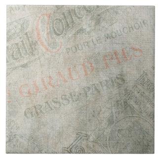 Verblaßte Vintage Pariser Anzeige-Papiercollage Keramikfliese