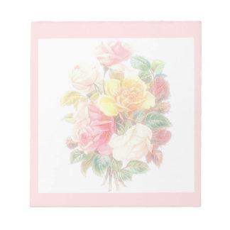 Verblaßte Vintage Rosen Notizblock