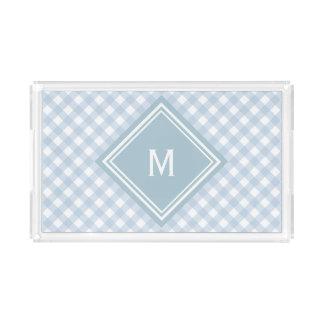 Verblaßter blauer Gingham mit Diamant-Monogramm Acryl Tablett