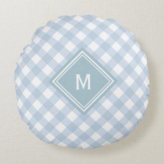 Verblaßter blauer Gingham mit Diamant-Monogramm Rundes Kissen