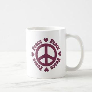 Verblaßter roter Frieden und Liebe Kaffeetasse