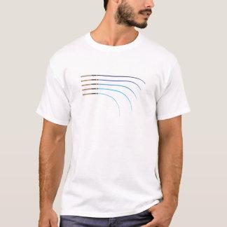 Verbogener gebogene Stangenfreie räume der T-Shirt
