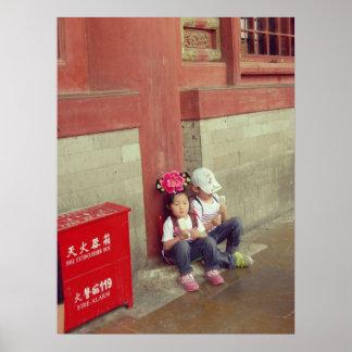 Verbotene Stadt-Chinaplakat-Chinesekinder Posterdrucke