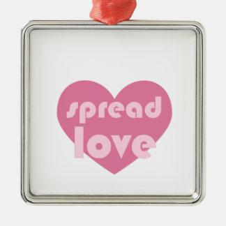 Verbreiten Sie die Liebe (allgemein) Quadratisches Silberfarbenes Ornament
