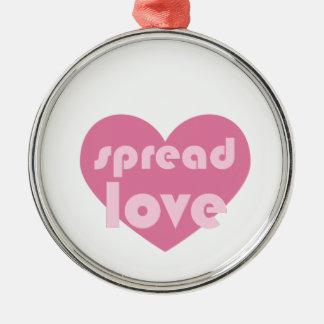 Verbreiten Sie die Liebe (allgemein) Rundes Silberfarbenes Ornament