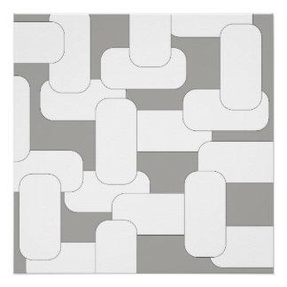 Verbundenes Grau u. Weiß Poster
