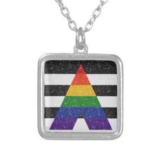 Verbündet-Stolz-Flagge des Glitter-LGBT Halskette Mit Quadratischem Anhänger