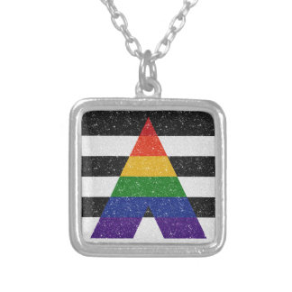 Verbündet-Stolz-Flagge des Glitter-LGBT Versilberte Kette