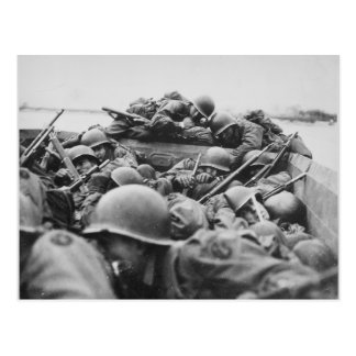 Verbündete Weltkrieg-Soldaten, die den Rhein Postkarte