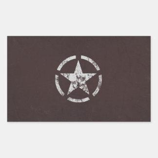 Verbündeter weißer Stern US Vintag Rechrteckaufkleber