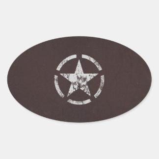 Verbündeter weißer Stern US Vintag Ovaler Aufkleber