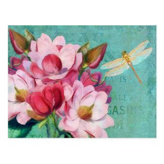 Verdigris, Libellen-rosa Magnolien-Vorlagenkunst Postkarte