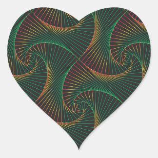 Verdreht - Grün und Rot Herz-Aufkleber