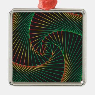 Verdreht - Grün und Rot Silbernes Ornament