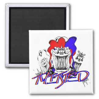 Verdrehte Clowns (Magnet) Quadratischer Magnet