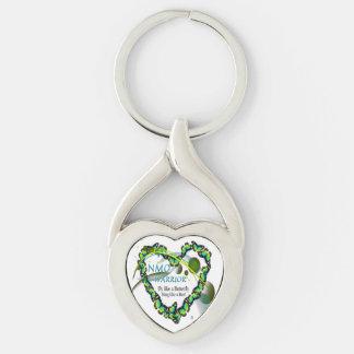 Verdrehtes Herz-Form-Metall Keychain, NMO Krieger Schlüsselanhänger