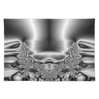 Verdrehtes Tornado-Metallschwarzes u. weißes Tischset
