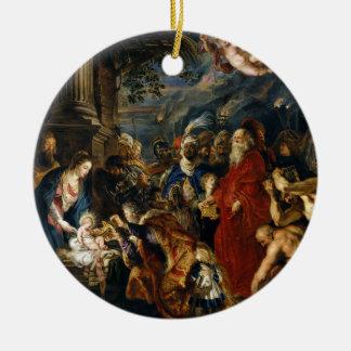 Verehrung der Könige ruben vorbei Rundes Keramik Ornament