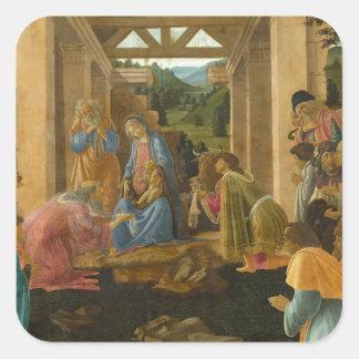 Verehrung der Weisen durch Botticelli Quadratischer Aufkleber